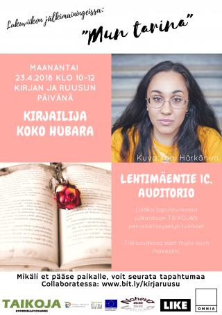 Koko Hubara vierailee Omniassa Kirjan ja ruusun päivänä 2018