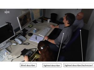 The purpose of the image is to illustrate how a concrete team audio description process can be organized. The picture shows a blind describer, a sighted describer and a sighted describer and technician working together on an audio description process.