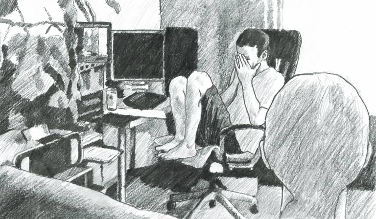 A black-and-white drawing that illustrates an authentic situation of the data collection process for the Mutable corpus. The picture shows two persons that are part of a blind-sighted team. One person is sitting on a chair, in front of a computer and holding hands on their face. The other person is pictured from behind and only their back of the head is shown in the picture.