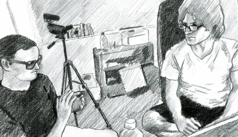 A black-and-white drawing that illustrates an authentic situation of the data collection process for the Mutable corpus. The picture shows two men that are part of a blind-sighted team. The team is drafting an audio description.