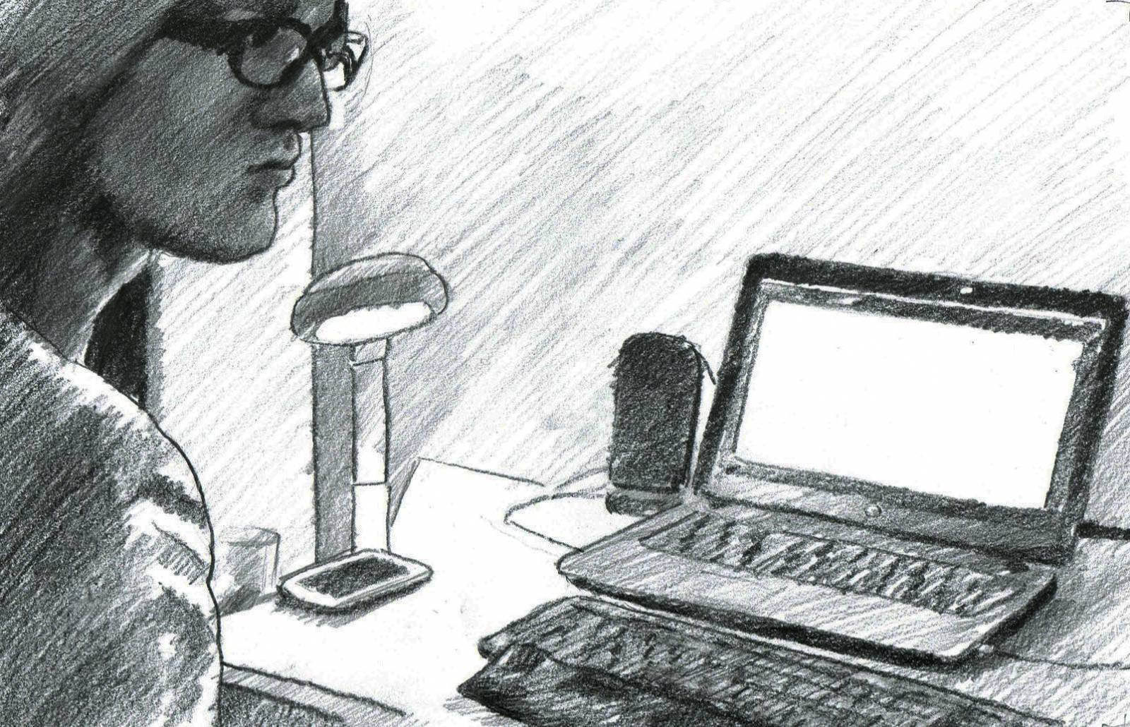 A black-and-white drawing that illustrates an authentic situation of the data collection process for the Mutable corpus. The picture shows a person who is part of a blind-sighted team sitting in front of a laptop. The person is wearing glasses and only part of their face is shown in the picture. Their face is pictured from their right side.