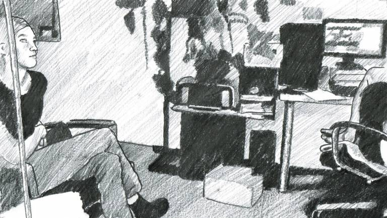 A black-and-white drawing that illustrates an authentic situation of the data collection process for the Mutable corpus. The picture shows a person who is part of a blind-sighted team and is sitting on a bench their legs crossed. The rest of the drawing shows the computer desk of the team.