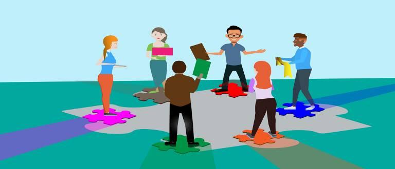 Piirroksessa on nuoria ringissä läppärit ja mobiililaitteet kädessä
