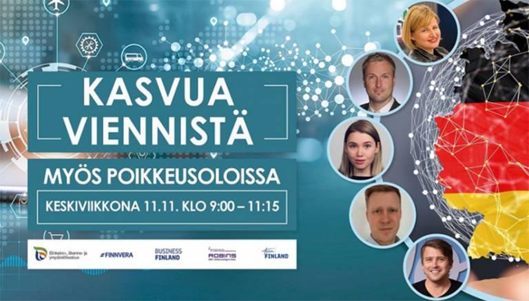Kasvua viennistä -seminaarikutsu, jossa kuvat puhujista ja taustalla virtuaalinen ympäristö.