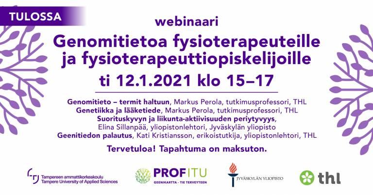 Genomitietoa fysioterapeuteille ja fysioterapeuttiopiskelijoille 12.1.2021