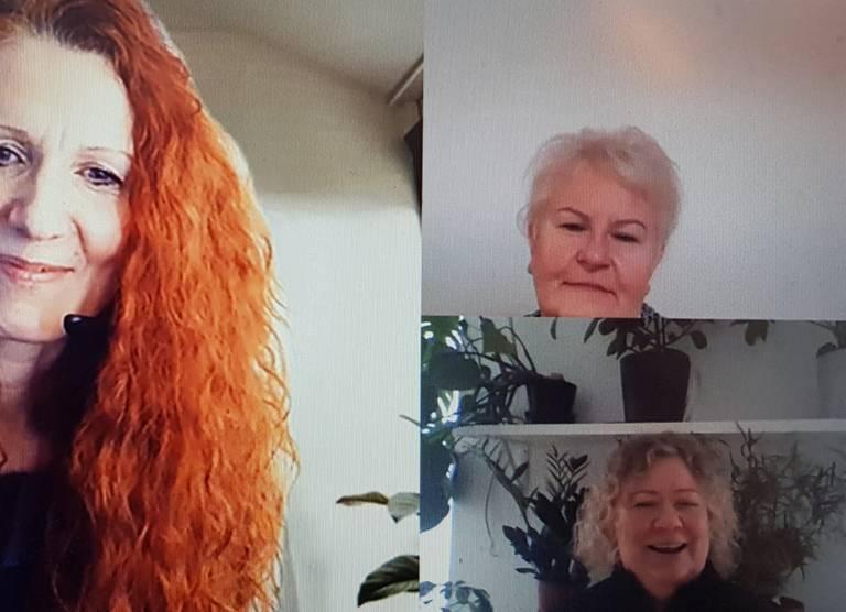 Haastateltavina Marja Janhunen ja Tiina Mankki Helsingin kotihoidosta Kontulan lähipalvelualueelta