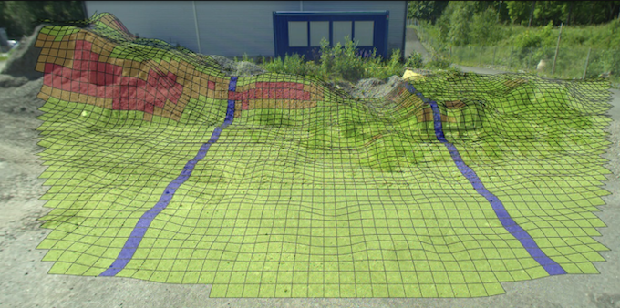 Augmented reality visualisation of the terrain on the terrain
