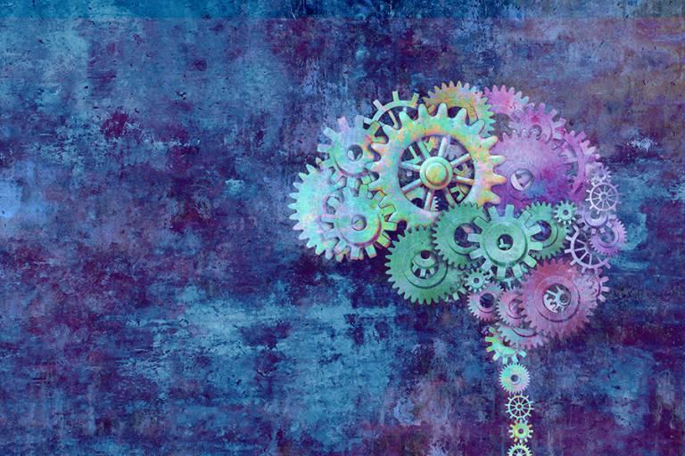 """3D-piirroskuva aivojen koneistosta ja """"rattaista"""""""