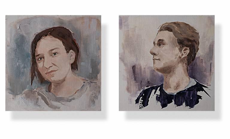 Maalatut muotokuvat kahdesta nuoresta henkilöstä